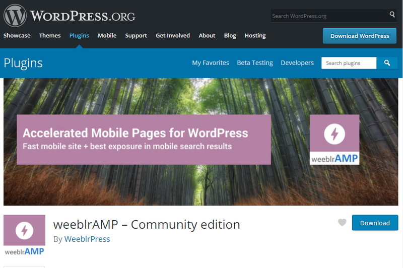 weeblrAMP community edition page on WordPress plugins directory