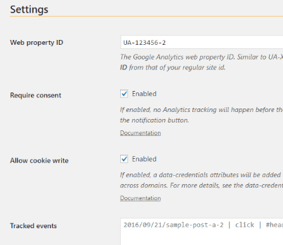Screenshot of weeblrAMP Analytics settings