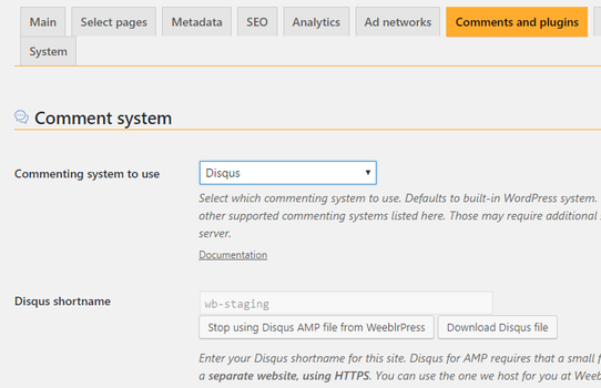 Screenshot of weeblrAMP Disqus settings