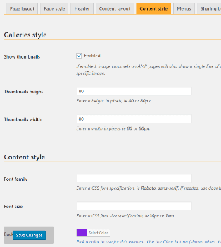 Screenshot of weeblrAMP Customization settings