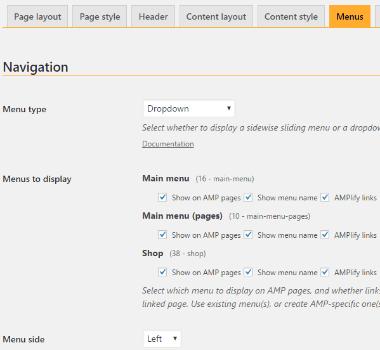 Screenshot of weeblrAMP menu settings