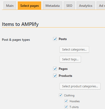 Screenshot of weeblrAMP page selection settings