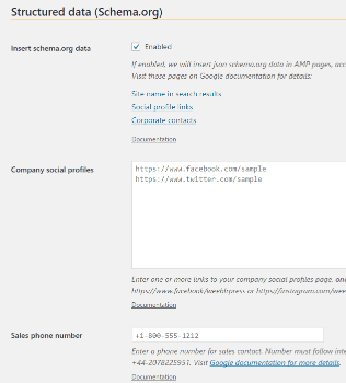 Screenshot of weeblrAMP SEO settings