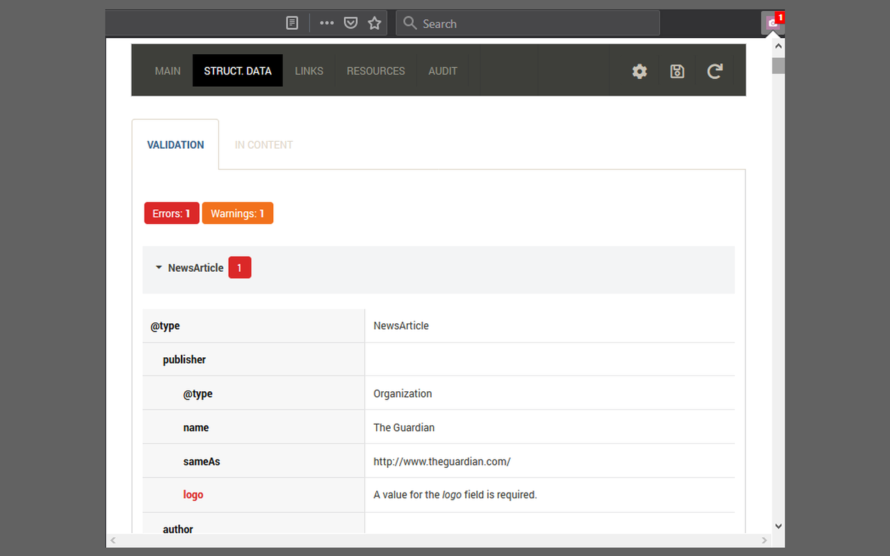 SEOInfo Structured data validation screenshot