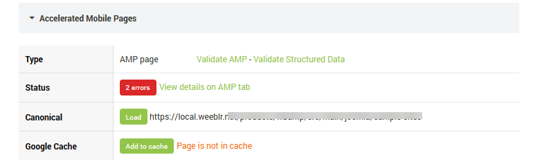 SEOInfo AMP section summary for an AMP page with errors