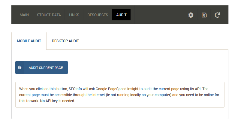 SEOInfo start a full page audit