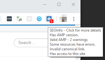SEOInfo icon and summary of errors screenshot