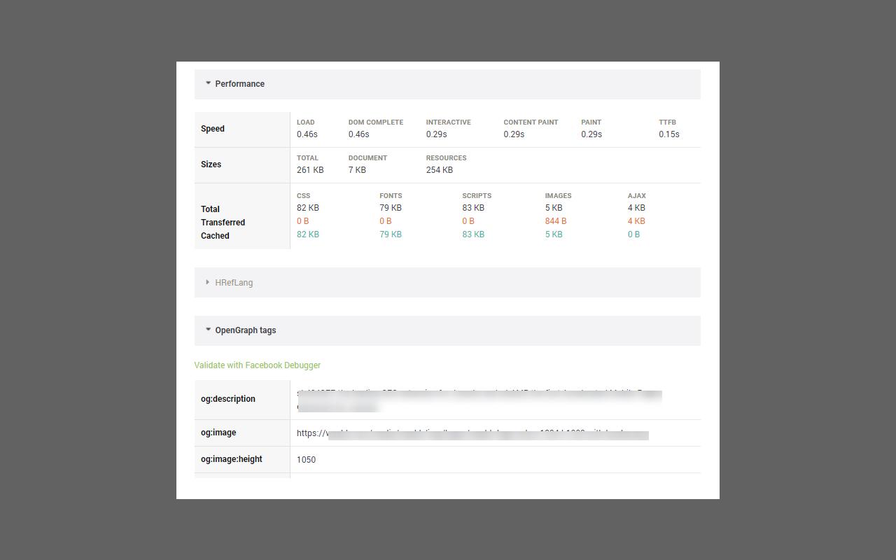 SEOInfo main popup screenshot