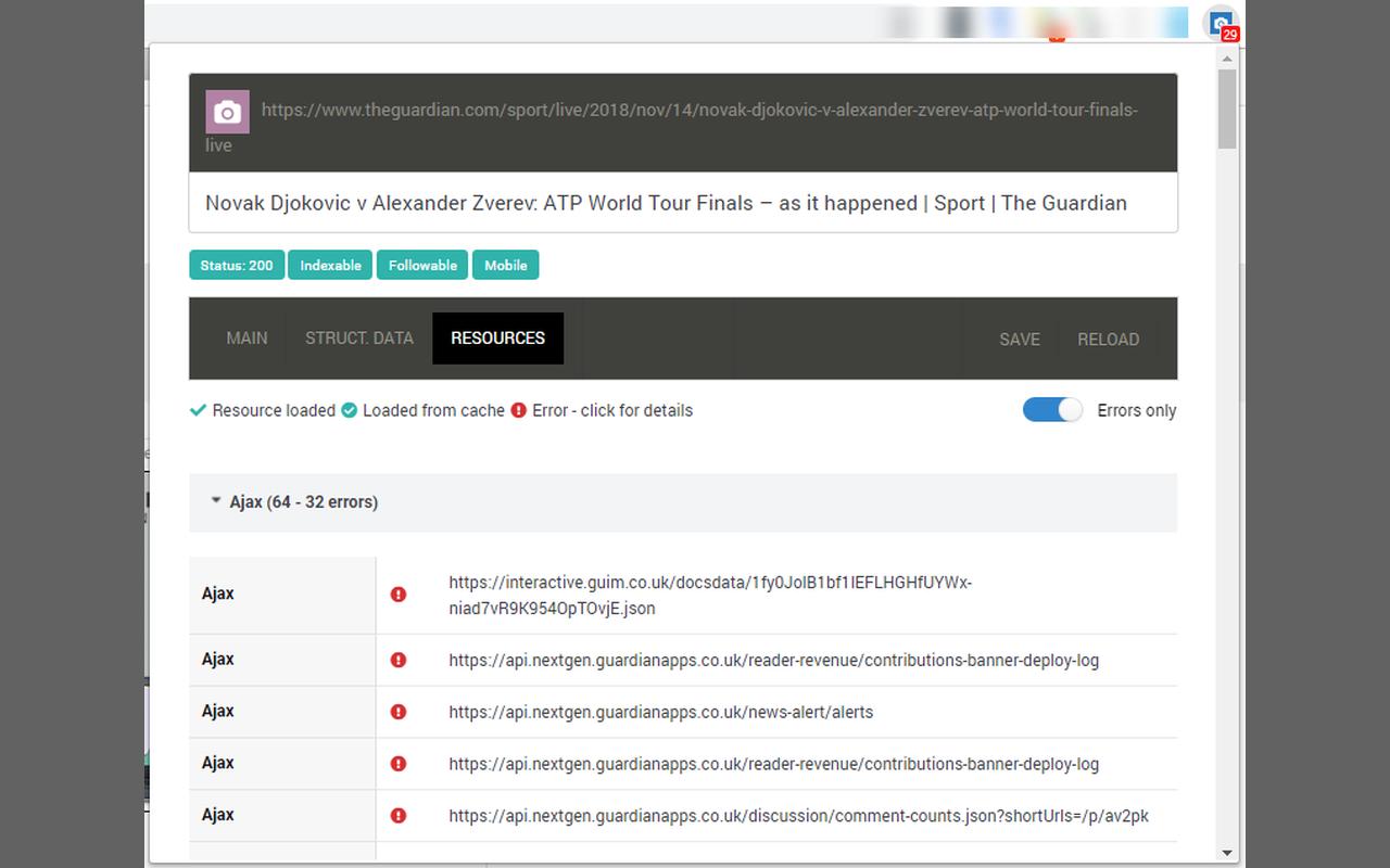 SEOInfo resources loading information screenshot