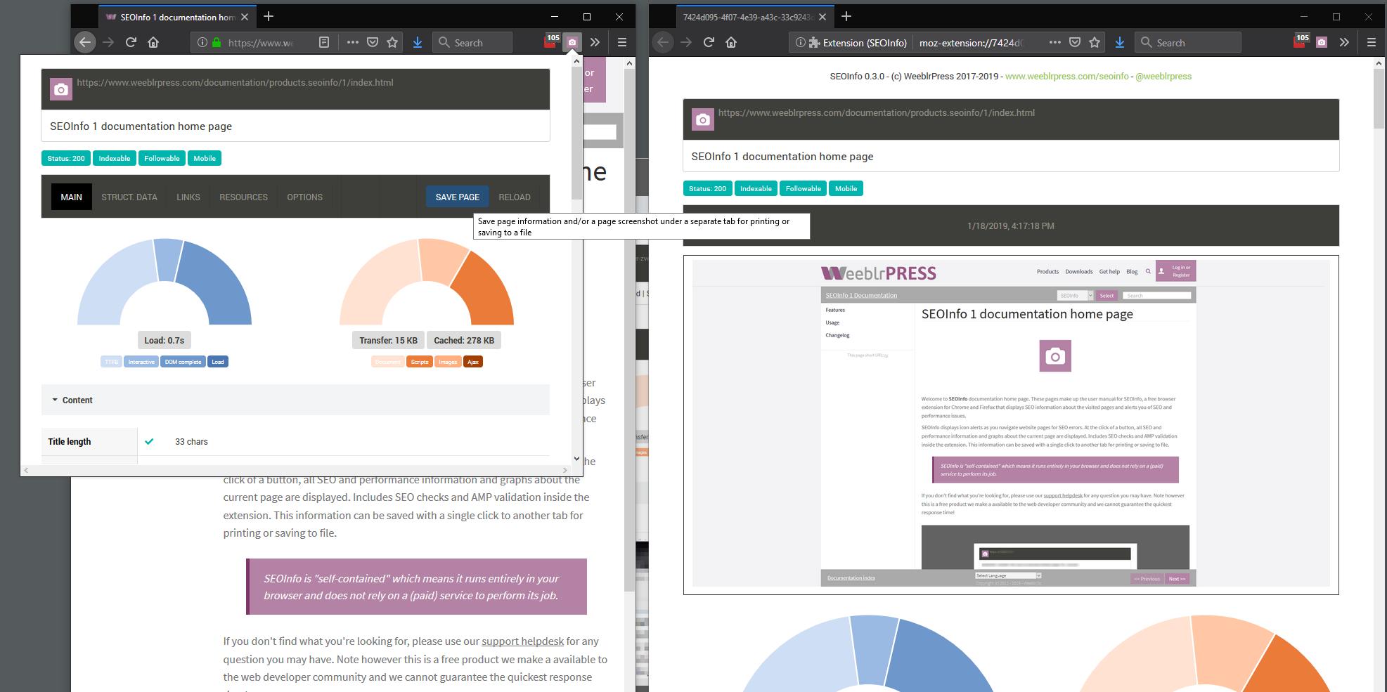 SEOInfo saving information screenshot