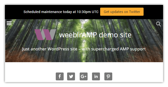 weeblrAMP announcement box front end display