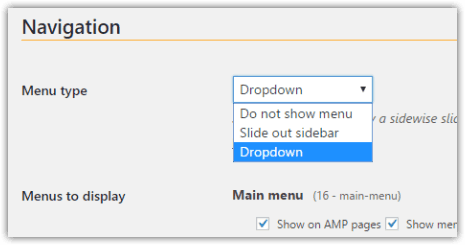 weeblrAMP menu types available