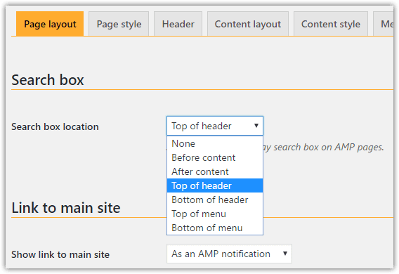 weeblrAMP search box display options