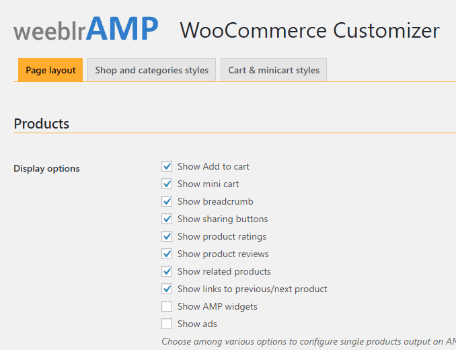 weeblrAMP WooCommerce customization settings
