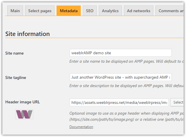 weeblrAMP metadata configuration with header image