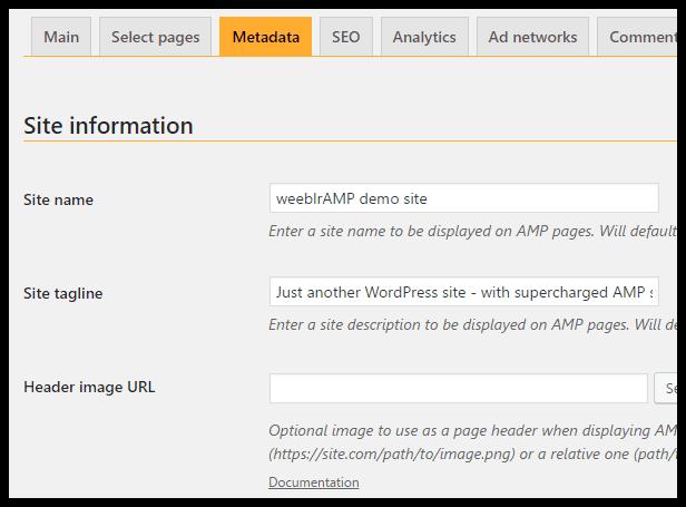 weeblrAMP metadata configuration
