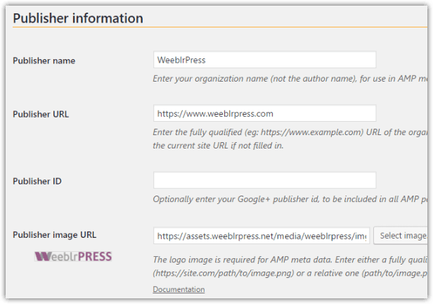 weeblrAMP metadata publisher information