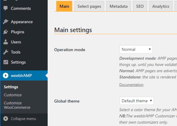 weeblrAMP menu and sub-menus