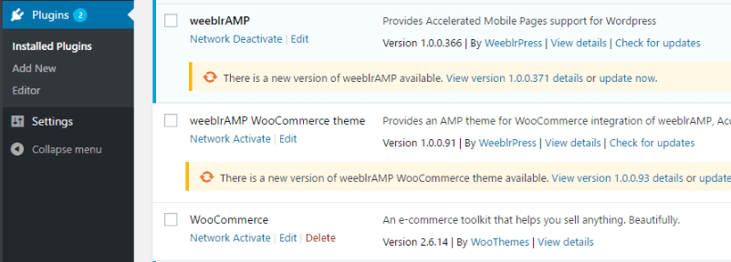 weeblrAMP updates available