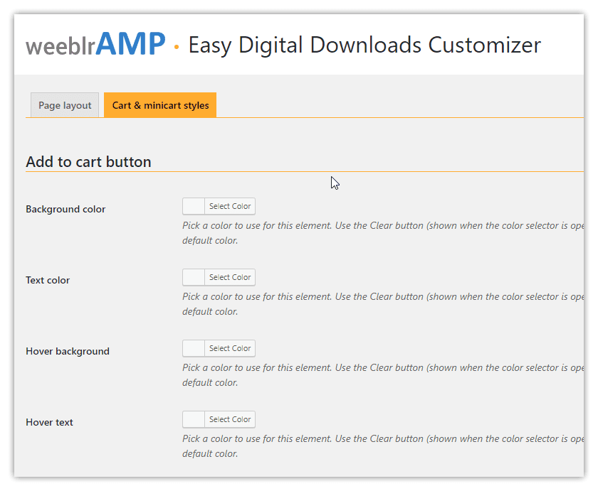weeblrAMP Easy Digital Downloads buttons customization