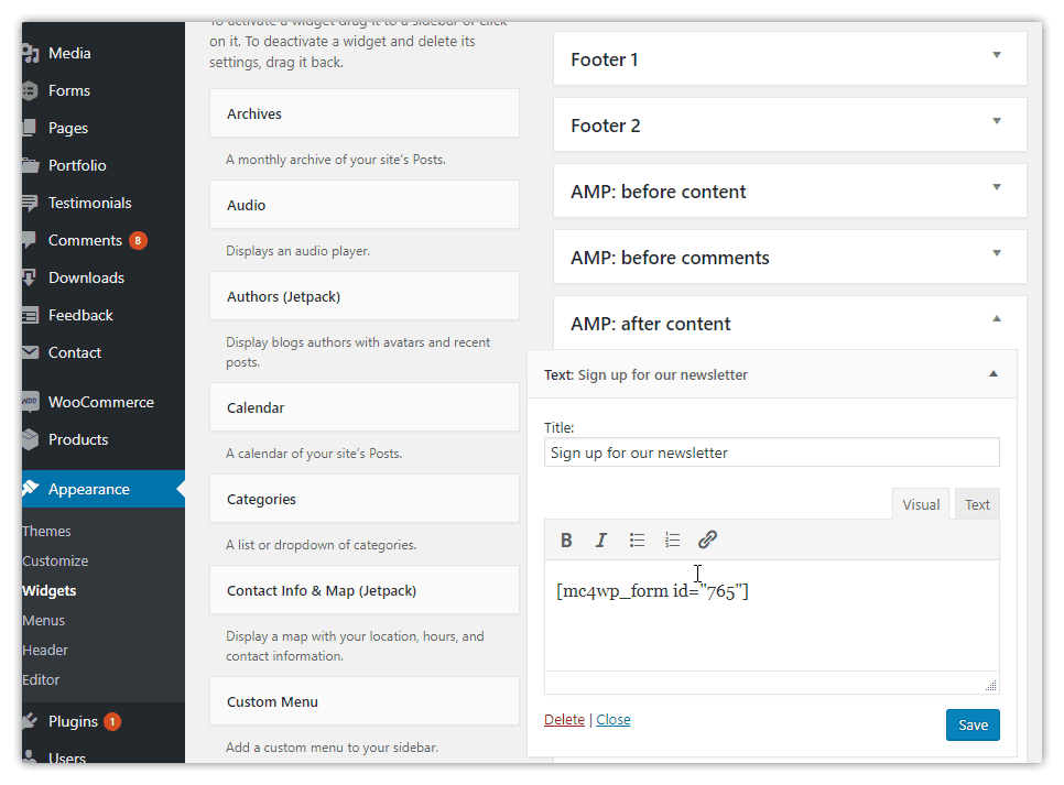 weeblrAMP Mailchimp for WP AMP widget creation