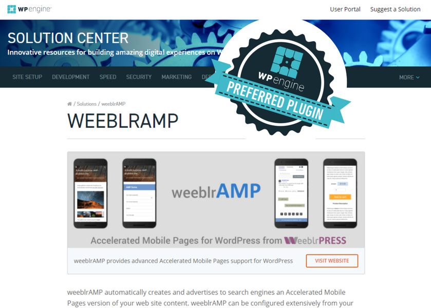 weeblrAMP page on WPEngine solution center