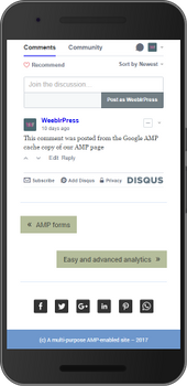 Screenshot of weeblrAMP Disqus comments