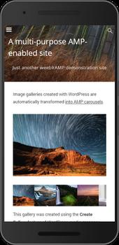 Screenshot of weeblrAMP Image carousel