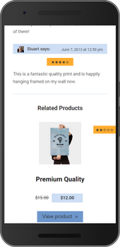 Screenshot of weeblrAMP WooCommerce related products display