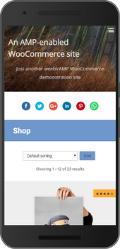 Screenshot of weeblrAMP WooCommerce product listing sorting